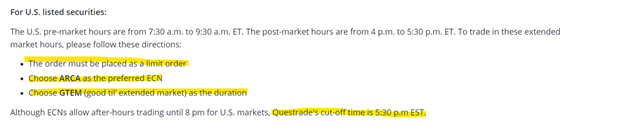 Questrade's policy on trading
