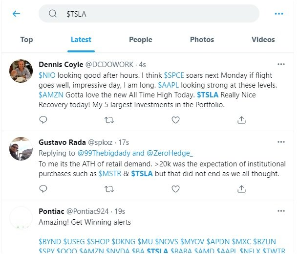 stock ticker TSLA